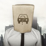 Buy a car concept on brown paper bag which businessman has on head on cityscape background